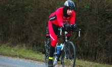 Endurance cyclist Steve Abraham who is attempting to cycle more than 75,065 miles throughout 2015, cycling near Evesham in Worcestershire , 29th January 2015. Photo © 2015, John Robertson for The Guardian.