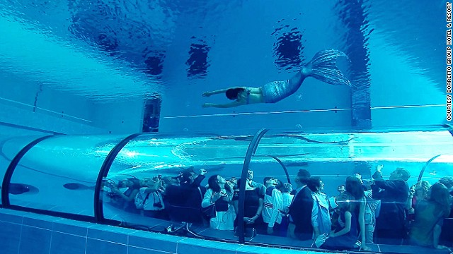 At the Hotel Millepini Terme in Montegrotto Terme, Italy, the pool features an underwater viewing tunnel